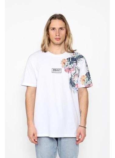 Oksit Mach1331 Flower Oversize T-Shirt Beyaz